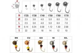 Mormiška «LODĪTE (daudzskaldnis)» Nr. 17 ar austiņu (4 mm, 0,65 g, krāsa: CU, iep. 10 gab.)
