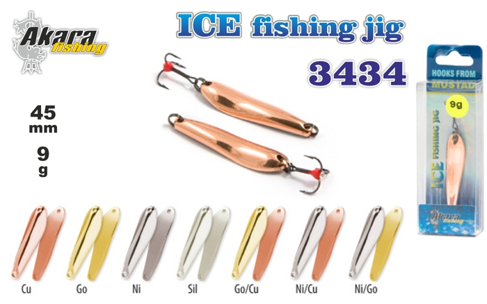 Ziemas māneklis «Ice Jig» 3434 (vert., 45 mm, 9 g, krāsa: NI/GO, iepak. 1 gab.)