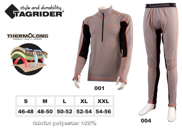 Termo apakškrekls TAGRIDER NORDLAND (izmērs: XXL, krāsa: pelēka \ oranža \ melna)