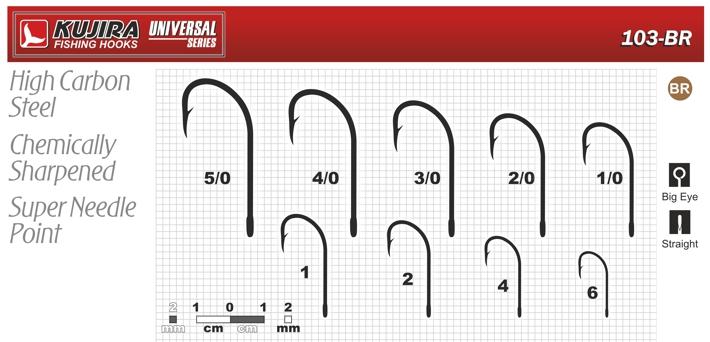 Крючки KUJIRA 103 (№ 3/0, BR, универсальные, упак. 4 шт.)