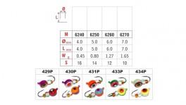 Mormiška «RIPA» Nr. 62 EP (3D actiņa, fosfors) ar austiņu (4 mm, 0,35 g, krāsa: 433P, iep. 10 gab.)