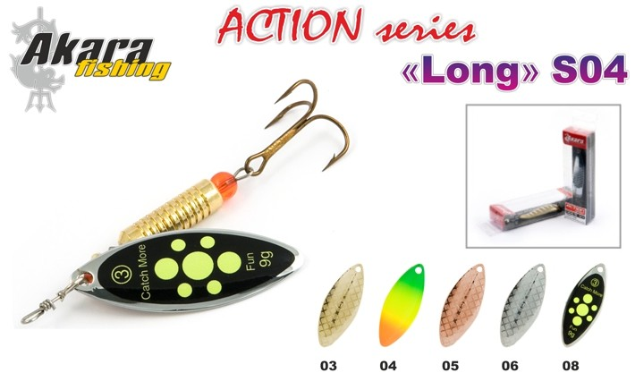 Блесна AKARA «Long N1+» Action S04 RT (вертушка, 6,5 гр., № 1+, цв. A7, упак. 1 шт.)