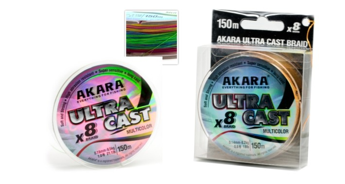 Aukla AKARA «Ultra Cast X-8 MultiColor 150» (pīta, 150 m, 0,100 mm, 5,90 kg, iep. 1 gab.)