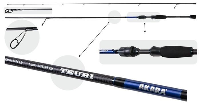 Makšķerkāts AKARA «TEURI MLS TX-30» 2X (saliek., 2,30 m, oglekļšķ., 103 g, tests: 5,5-17,5 g) 762 MLS