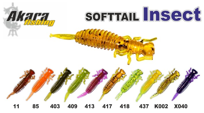 Silikona māneklis AKARA SOFTTAIL «Insect» (65 mm, krāsa 418, iep. 4 gab.)