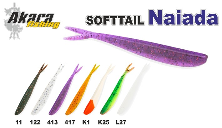 Silikona māneklis AKARA SOFTTAIL «Naiada» (100 mm, krāsa L27, iep. 4 gab.)
