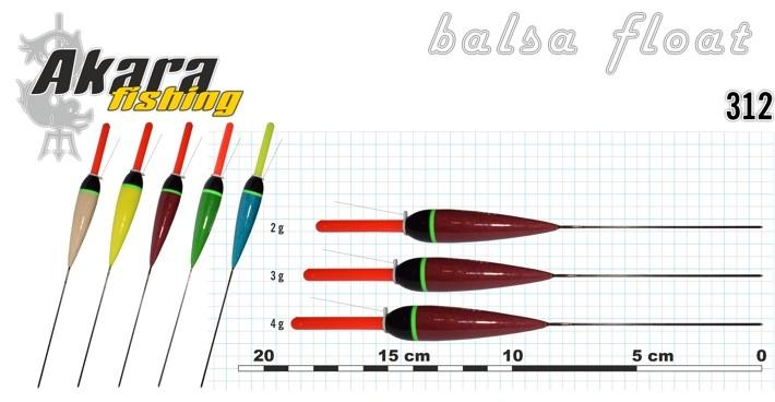 Поплавок AKARA 312 (бальса, 3,0 г, 18,5 см, упак. 10 шт.)