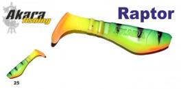 Silikona māneklis AKARA SOFTTAIL «Raptor R 2,5 ST» (63 mm, krāsa 25, iep. 4 gab.)