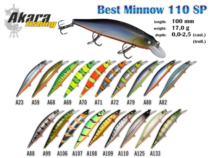 Vobleris AKARA «Best Minnow» 110 SP (17 g, 110 mm, krāsa A73, iep. 1 gab.)