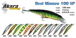 Vobleris AKARA «Best Minnow» 100 SP (15 g, 100 mm, krāsa A125, iep. 1 gab.)