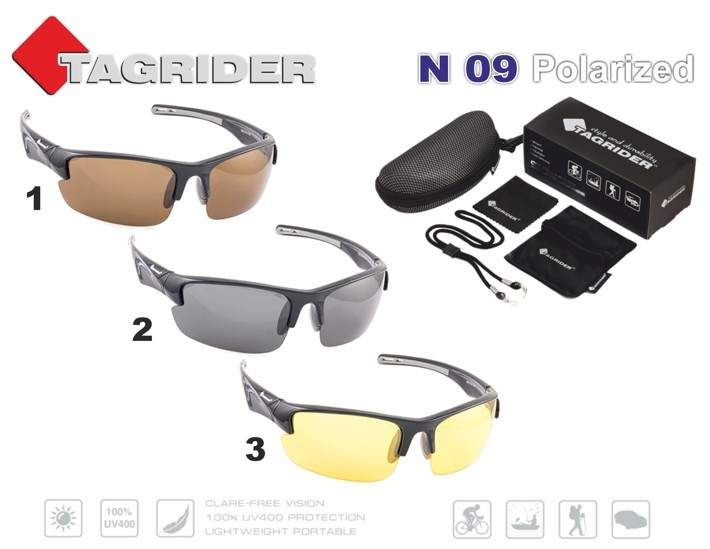 Saulesbrilles TAGRIDER N 09 (polarizētas, filtru krāsa: Brown)___ ! NEW !
