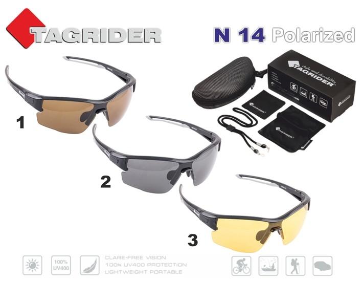 Saulesbrilles TAGRIDER N 14 (polarizētas, filtru krāsa: Brown)