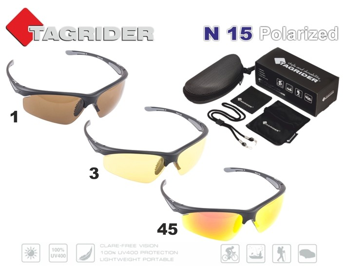 Saulesbrilles TAGRIDER N 15 (polarizētas, filtru krāsa: Gold Red Mirror)
