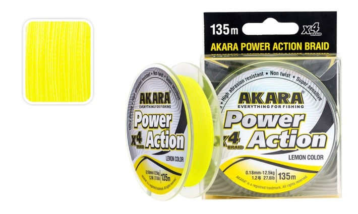 Леска AKARA «Power Action X-4 Yellow 135» (плетёная, 135 м, 0,160 мм, 10,50 кг, упак. 1 шт.)