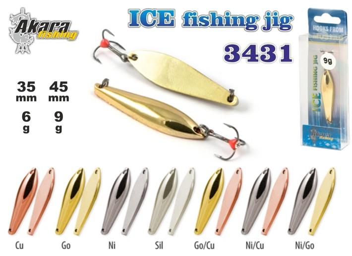 Зимняя блесна «Ice Jig» 3431 (верт., 40 мм, 9 г, цвет: SIL, упак. 1 шт.)