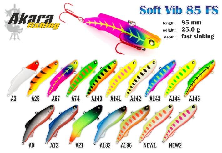 Vobleris AKARA «Soft Vib» 85 FS (25 g, 85 mm, krāsa A74, iep. 1 gab.)