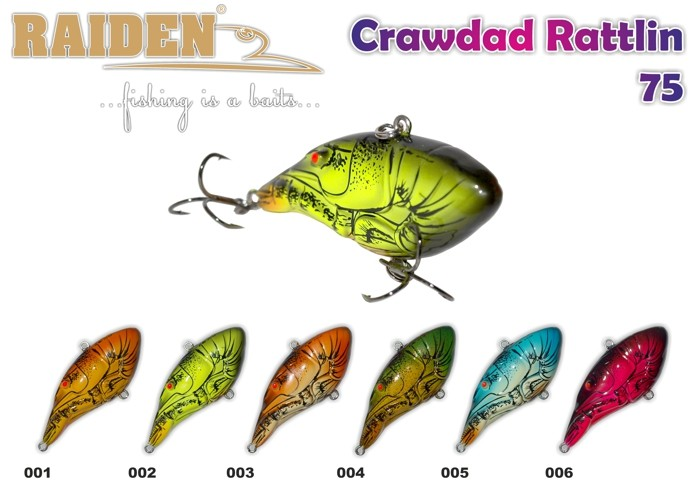 @ Воблер RAIDEN «Crawdad Rattlin» 75 S (20 гр., 75 мм, цв. 006, упак. 1 шт.)