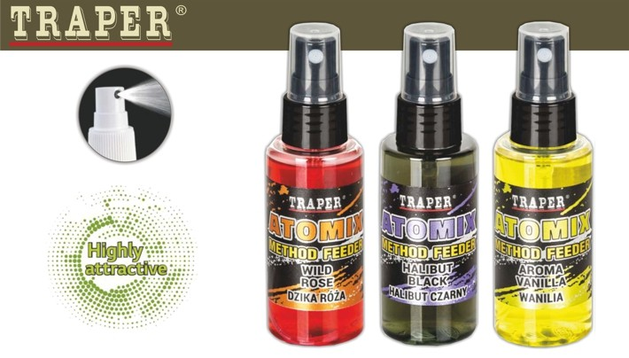 @ Zivju papildbarība (smaržas koncentrāts) TRAPER «ATOMIX Method Feeder» Halibut Red (paltuss, sarkana, 50 ml / 50 g)
