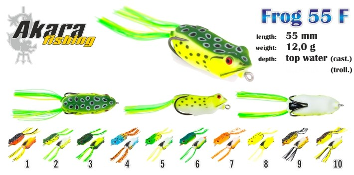 Vobleris AKARA «Frog» 55 F (12 g, 55 mm, krāsa 7, iep. 1 gab.)