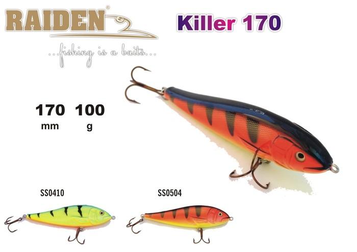 @ Vobleris RAIDEN «Killer» 170 WS (100 g, 170 mm, krāsa SS0504, iep. 1 gab.) koks