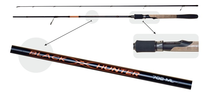 Makšķerkāts AKARA «BLACK HUNTER» 2X (saliek., 2,60 m, oglekļšķ., 191 g, tests: 17-51 g) 862 H___ ! NEW !