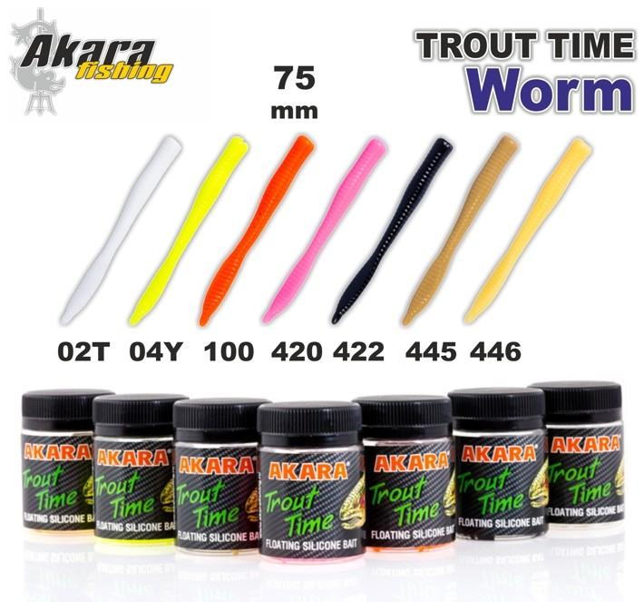 Silikona māneklis AKARA SOFTTAIL «Trout Time WORM 3» Tutti Frutti (75 mm, krāsa 02T, iep. 10 gab.)