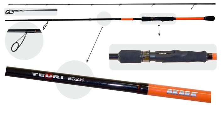 Makšķerkāts AKARA «TEURI HS TX-30» 2X (saliek., 2,44 m, oglekļšķ., 126 g, tests: 21-56 g) 802 HS