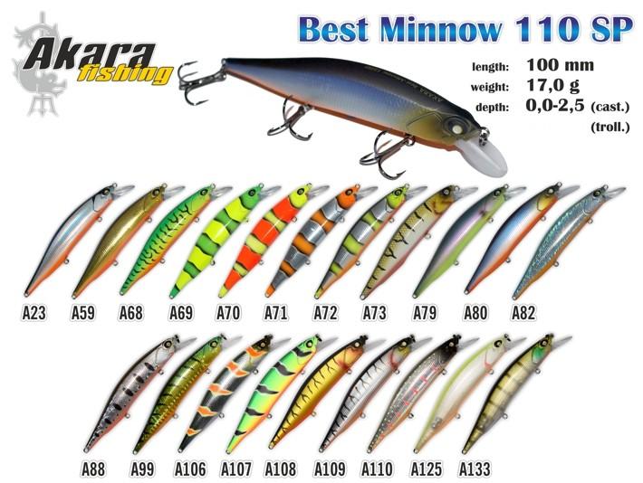 Vobleris AKARA «Best Minnow» 110 SP (17 g, 110 mm, krāsa A59, iep. 1 gab.)