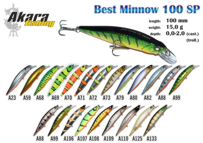 Vobleris AKARA «Best Minnow» 100 SP (15 g, 100 mm, krāsa A99, iep. 1 gab.)
