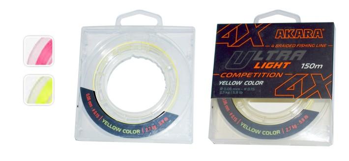 Aukla AKARA «Ultra Light 4X Competition 150» (pīta, dzeltena, 150 m, 0,060 mm, 2,70 kg, iep. 1 gab.)