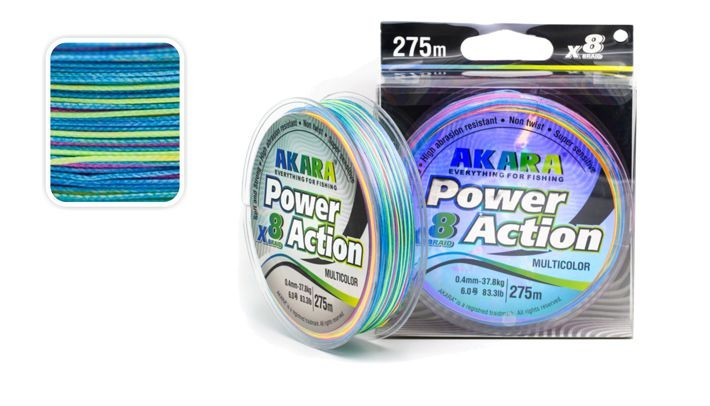 Леска AKARA «Power Action X-8 MultiColor 275» (плетёная, 275 м, 0,400 мм, 37,80 кг, упак. 1 шт.)