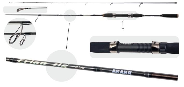 Makšķerkāts AKARA «ERION Jig (2-8) TX-30» 2X (saliek., 2,10 m, oglekļšķ., 130 g, tests: 2-8 g)