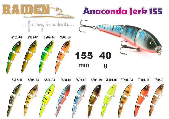 @ Воблер RAIDEN «Anaconda Jerk» 155 WS (40 гр., 155 мм, цв. SS05-03, упак. 1 шт.) деревянный
