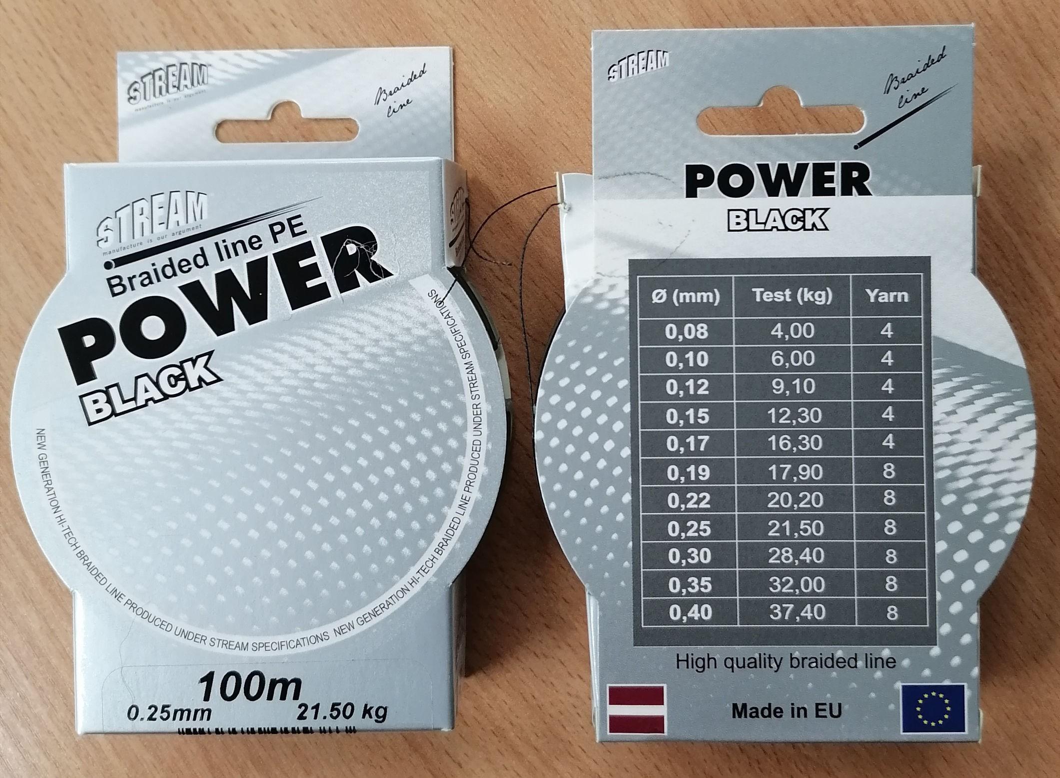 Aukla STREAM «BLACK POWER 100» (pīta, 100 m, 0,25 mm, 21,5 kg, iep. 1 gab.)